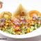 Kichererbsen und Samosa indisches Gericht
