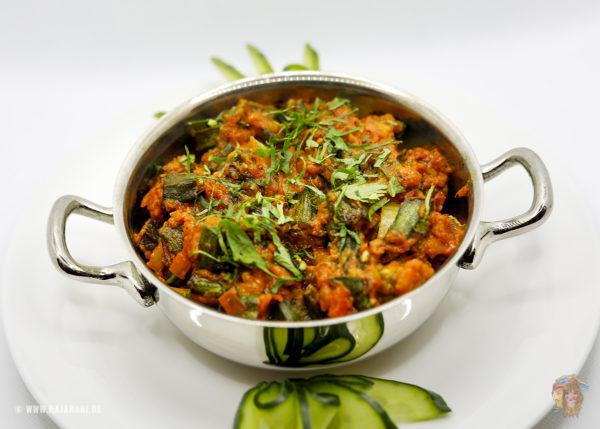 Indisches Essen Sabji Bhindi Vegan bei RajaRani Heidelberg