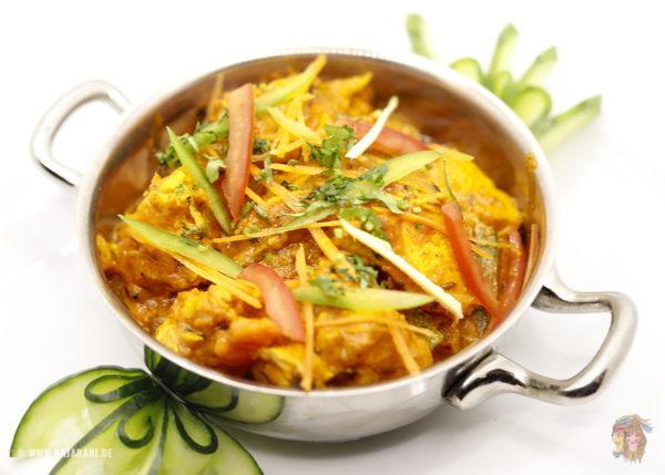 Indisches Essen Chicken Jalfrezi bei RajaRani Heidelberg