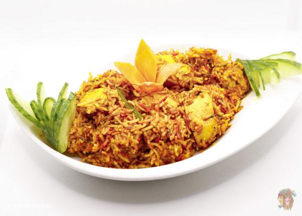 Indisches Essen Chicken Biryani bei RajaRani Heidelberg