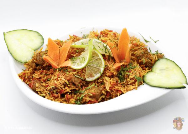 Indisches Essen Lamm Biryani bei RajaRani Heidelberg